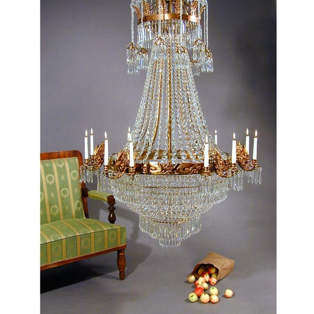 Empire Large Light Brass Colour Empire Style Crystal Octagons and 12 Candle Holders Chandelier For Sale - Image 3 of 5