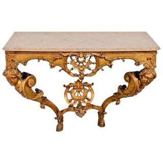 Period French 18th Century Regence Giltwood Marble Top Console Table For Sale
