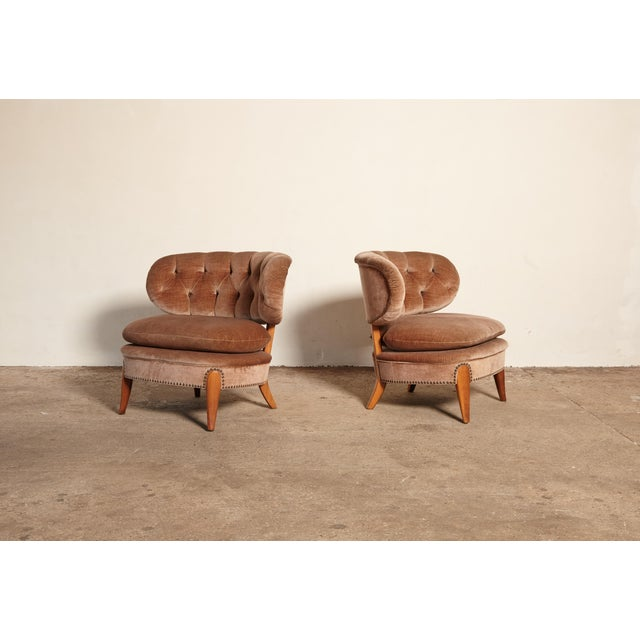Mid-Century Modern Pair of Otto Schulz 'Schultz' Easy Chairs, Sweden, 1940s-1950s For Sale - Image 3 of 11