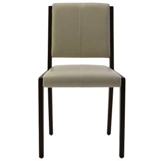 Tan Leather Upholstered Side Chair With Saddle Stitch Detail and Wood Frame For Sale