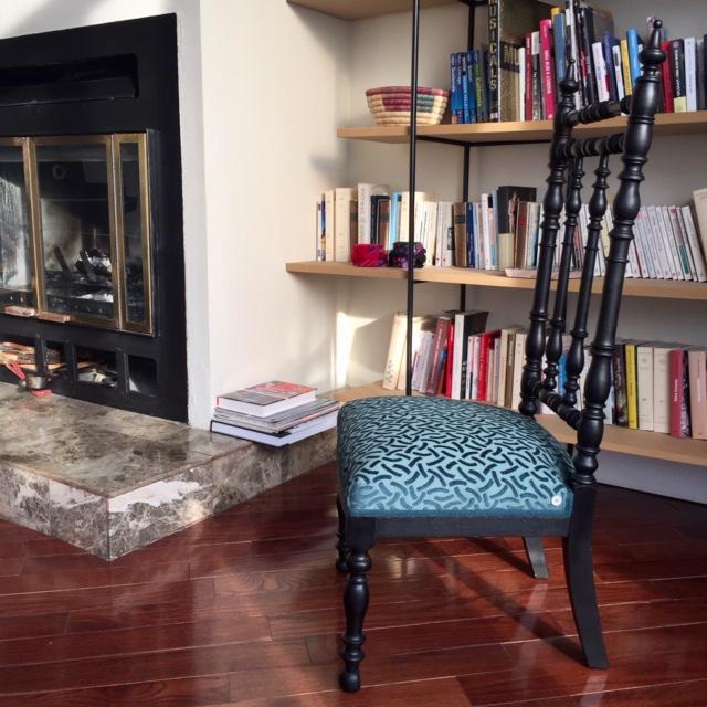 19th Century 19th Century Napoleon III Era French Black and Aquamarine Chimney Chair For Sale - Image 5 of 11
