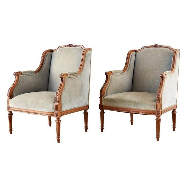 Pair of French Louis XVI Style Walnut Bergère a Oreilles For Sale - Image 13 of 13