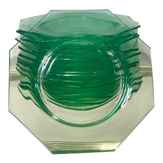 """Vintage Glow in the Dark Uranium Glass Octagonal 8"""" Bread or Salad Plates by Le Smith - Set of 16 For Sale"""