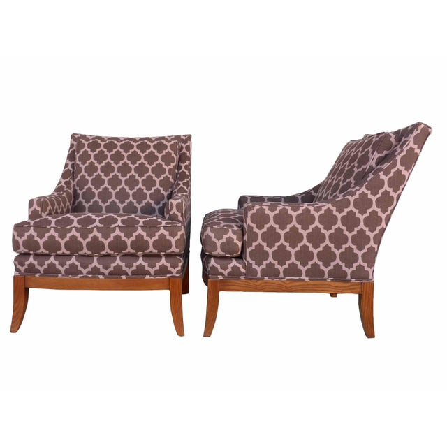 Kravet Furniture Upholstered Lounge Chairs With Wood Frame - A Pair - Image 2 of 7