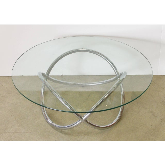 Mid-Century Modern 1960s Vintage Chrome and Glass Coffee Table For Sale - Image 3 of 5