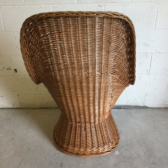 70s Wicker Lounge Chair For Sale - Image 4 of 10