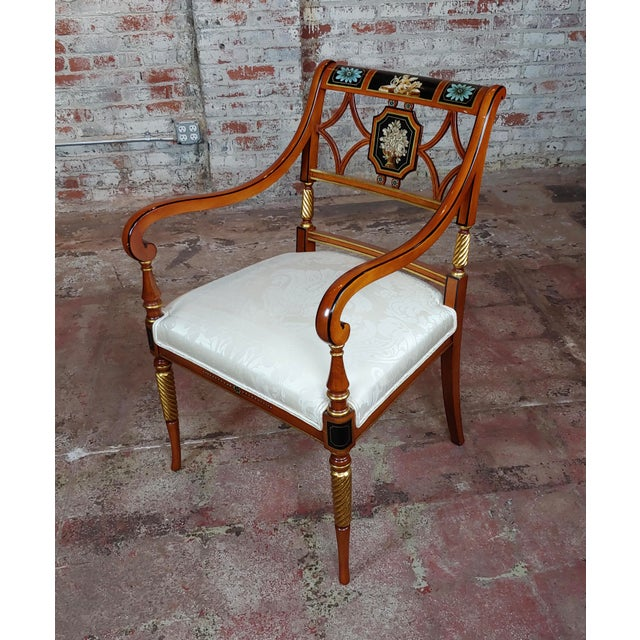 Paint 1990s Vintage Baker Painted Regency Arm Chairs -Set of 4 For Sale - Image 7 of 12