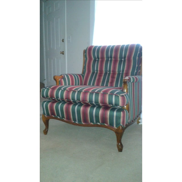 Striped French Provincial Arm Chair - Image 2 of 5