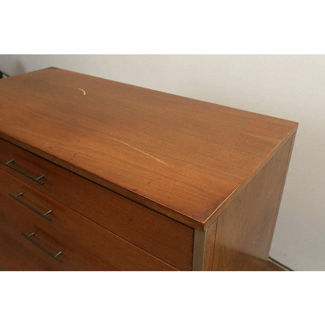 Mid Century Modern Paul McCobb for Calvin Walnut & Brass Chest of Drawers or Highboy - Image 9 of 9