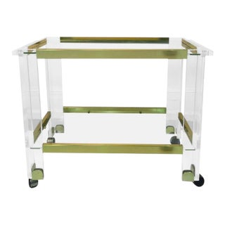 Charles Hollis Jones Brass & Lucite Bar Cart