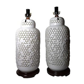 Oversized Blanc De Chine Lamps - Pair