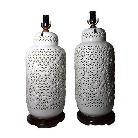 Oversized Blanc De Chine Lamps - Pair - Image 1 of 5