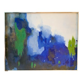 Mid Century Abstract Painting in Blue For Sale