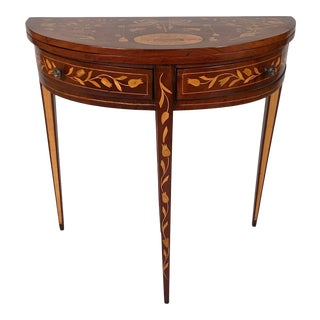 19th Century Dutch Marquetry Demi-Lune Mahogany Table For Sale