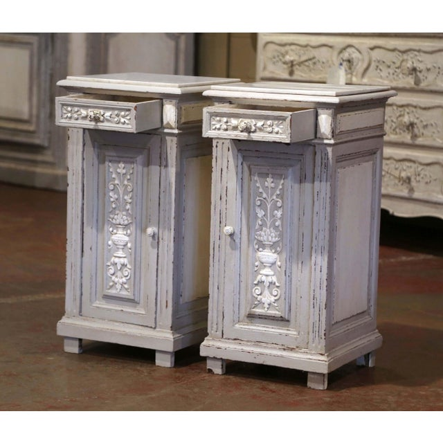 Pair of 19th Century French Carved Painted Nightstands With Marble Top For Sale - Image 4 of 10