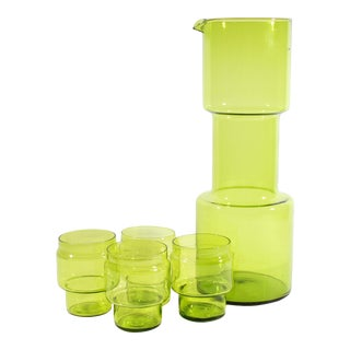 Gunnar Ander for Lindshammer Swedish Mid-Century Modern Green Glass Cocktail Set- 5 Pieces For Sale
