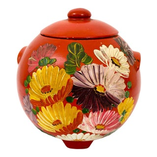 Vintage Hand Painted Floral Pottery Jar For Sale