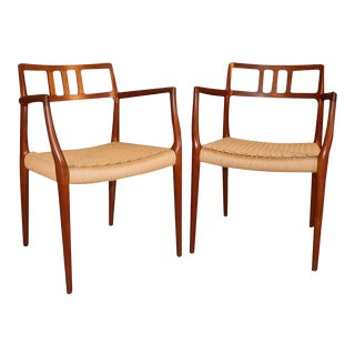 Mid Century Niels Moller Teak Model 64 Armchairs For Sale