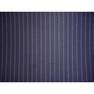 Ralph Lauren Niven Chalk Stripe Navy Blue Upholstery Fabric - 2 1/8 Yards For Sale