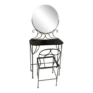 Ferro Brandt Art Deco Wrought Iron Vanity & Chair - A Pair For Sale
