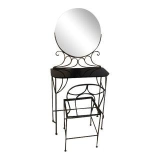 Ferro Brandt Art Deco Wrought Iron Vanity & Chair - A Pair