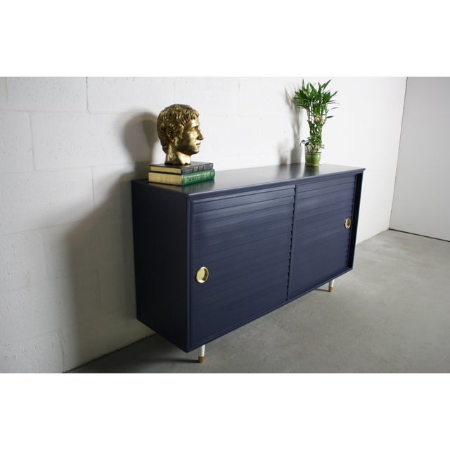 1960's Navy Cabinet W/ White & Gold Tapered Legs - Image 5 of 11