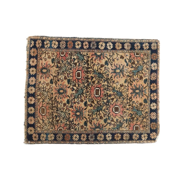 "Vintage Farahan Sarouk Square Rug Mat - 2' X 2'6"" For Sale - Image 10 of 10"