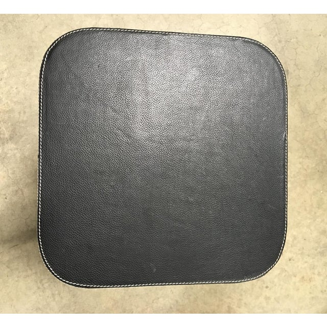 Traditional Black Leather Counter Stool For Sale - Image 3 of 6