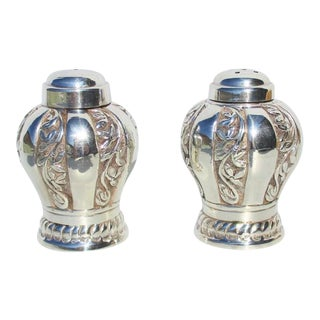 Indian Silver Salt and Pepper Set - a Pair For Sale
