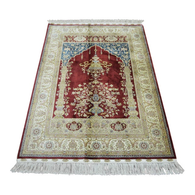Hand Knotted Turkish Silk Rug - 3′1″ × 4′5″ - Image 1 of 9