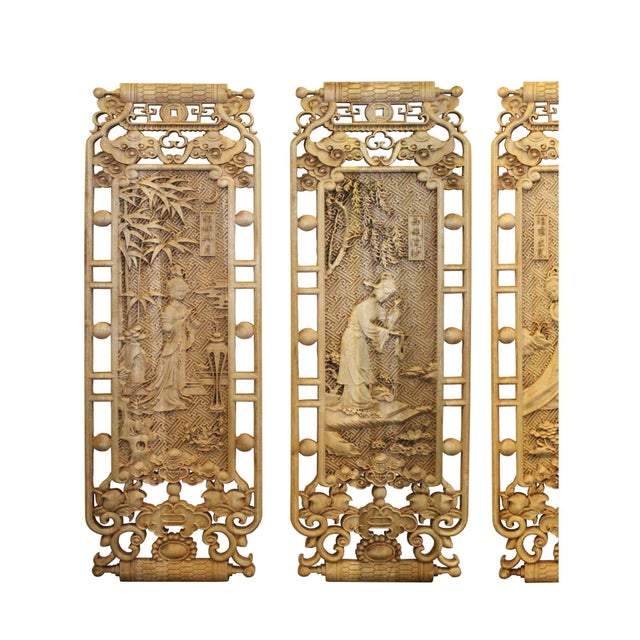 Wood Chinese Set of 4 Rectangular Four Beauties Wooden Wall Plaque Panels For Sale - Image 7 of 8