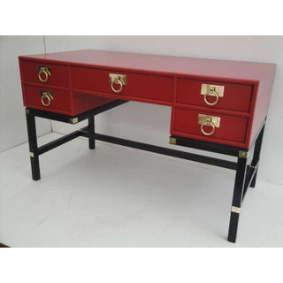 1970s Hollywood Regency Red Lacquer Campaign Tanker Desk Preview