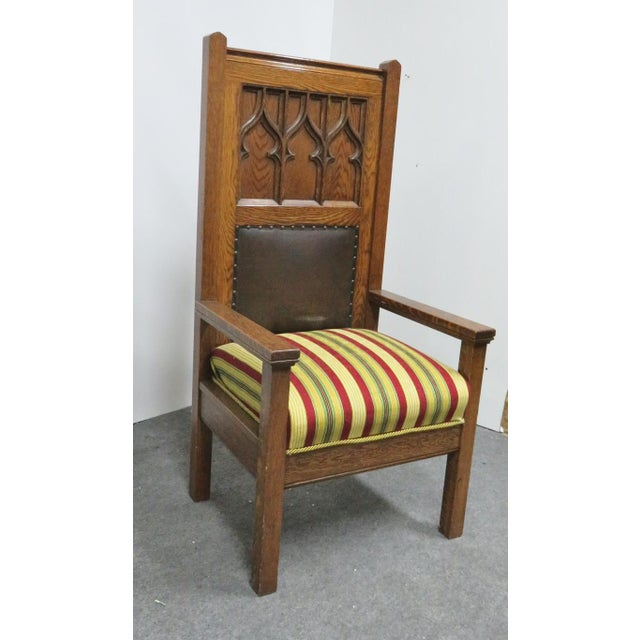 1900s Antique Gothic Carved Oak Throne Chair For Sale In Philadelphia - Image 6 of 6