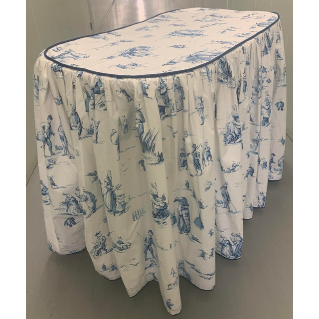 1990s Custom Brunschwig & Fils Fabric Skirted Vanity Table For Sale - Image 5 of 12