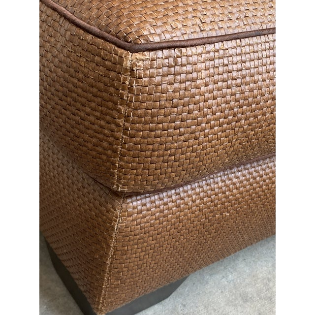 Donghia Leather Woven Ottoman For Sale - Image 9 of 11