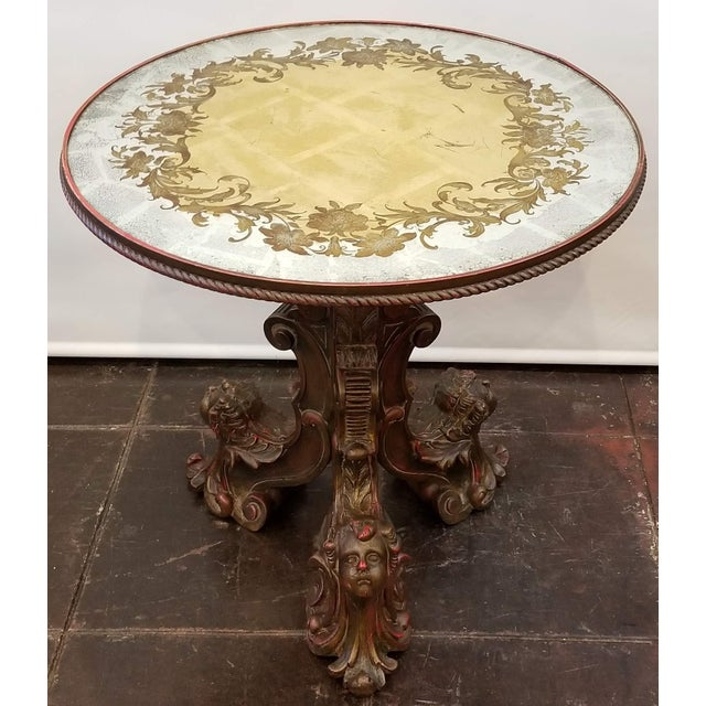 Italian Baroque Carved Pedestal Centre Table With Putti Base and Verre Églomisé Top For Sale - Image 11 of 11