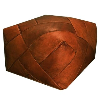 ZigZag Pouf by Mpw Plaza, Rustic Brown (Cover) Moroccan Leather Pouf Ottoman For Sale