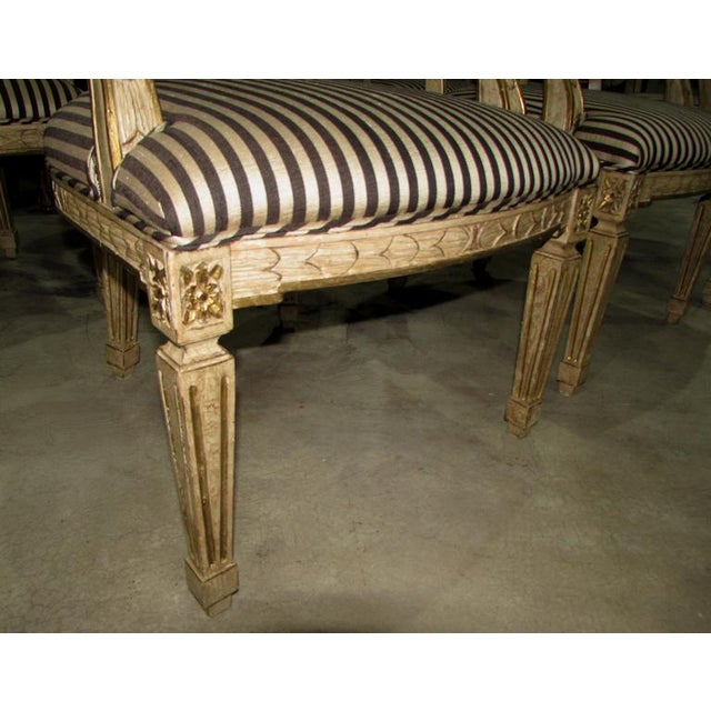Fabric French Louis XV Carved Wood Oval Back Dining Arm Chairs - Set of 7 For Sale - Image 7 of 13
