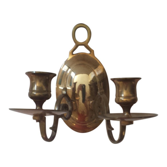 Vintage 2 Candle Brass Sconce For Sale