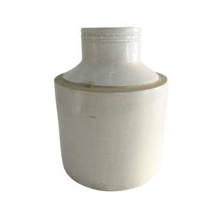 Antique Large White Stoneware Crock Vase For Sale