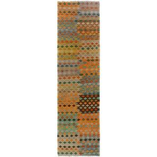 Kilim Arya Elodie Gray/Blue Wool Rug -2'6 X 9'6