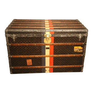 1890s Large Louis Vuitton Checkered Monogram Steamer Trunk, Malle Louis Vuitton For Sale