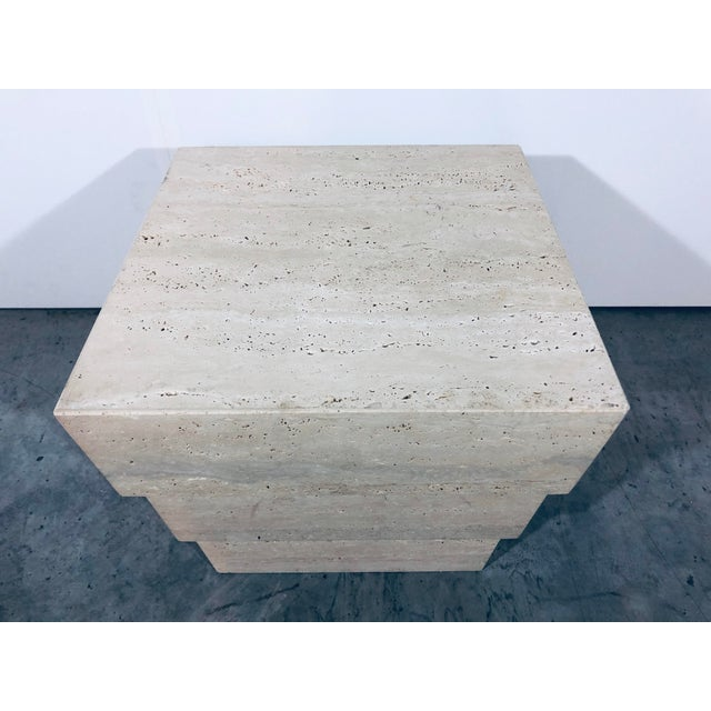 1970s Mid-Century Modern Italian Travertine Pedestal For Sale - Image 9 of 12