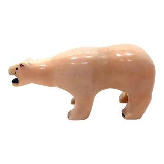 1900s Tribal Inuit Eskimo Hand-Carved Tusk Polar Bear Figurine