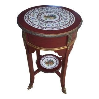 Sarreid Ltd. Haviland Cherry Wood & China Side Table For Sale