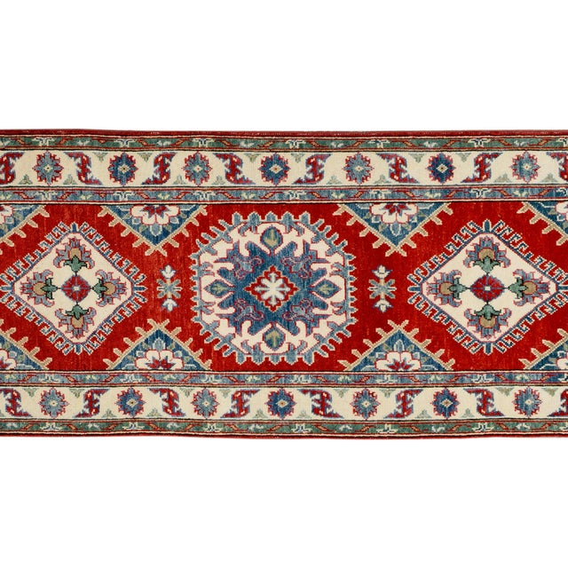 "Rustic Kazak Garish Zane Red Ivory Wool Rug - 2'"" x 9'9"" For Sale - Image 3 of 8"