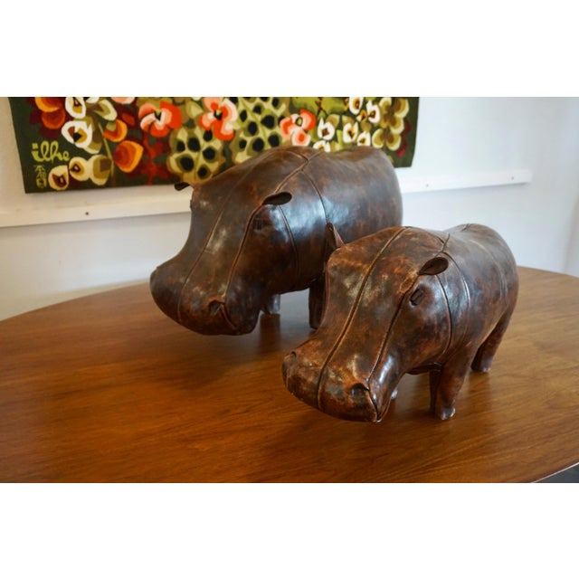 Leather 1970s Vintage Omersa for Abercrombie + Fitch Leather Hippo Ottoman For Sale - Image 7 of 9
