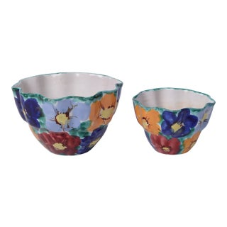2 Bowls Italian Ceramic Floral Hand Painted Vintage Majolica - a Pair For Sale