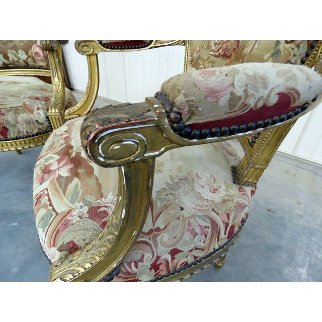 Textile Pair of French Louis XVI Style Needlepoint Fauteuils For Sale - Image 7 of 11