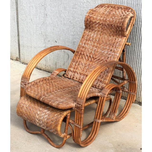 20th Century Adjustable Bentwood and Rattan Chaise Longue With Ottoman For Sale - Image 11 of 12